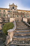 Villa Pignatti-Morano is a three-story seventeenth century villa. Custoza, Italy - March 11, 2017: Villa Pignatti-Morano is a three-story seventeenth century stock photo