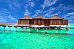 Villa on piles on beautiful beach. Villa on piles on beautiful beach in Maldives Royalty Free Stock Image