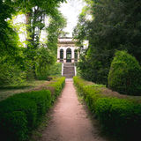 Villa pisani garden coffee house flight of steps hedge symmetry square format.  Stock Photos