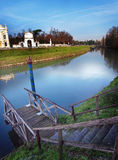 Villa Pisani in Stra Italy and the Brenta River. Royalty Free Stock Images