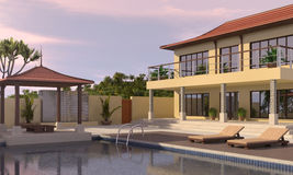 Villa with pool. Holiday villa with pool at sunset Royalty Free Stock Images