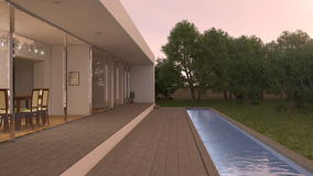 Villa with pool. Evening and sunset Stock Photos