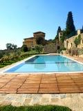 Villa pool. A fantastic shot of a villa pool in Tuscany countryside Royalty Free Stock Photography
