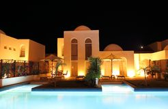 Villa and Pool in the Evening Stock Photography
