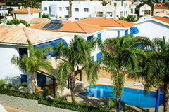 Villa. With pool top view solar battery royalty free stock photo