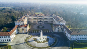 Villa Reale garden, Monza, Italy. Villa Reale, Monza, Italy. Aerial view of the Villa Reale 01/15/2017. Royal gardens and park of Monza. Palace, neoclassical royalty free stock images