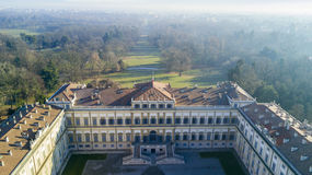 Villa Reale garden, Monza, Italy. Villa Reale, Monza, Italy. Aerial view of the Villa Reale 01/15/2017. Royal gardens and park of Monza. Palace, neoclassical royalty free stock image