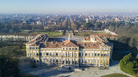 Villa Reale garden, Monza, Italy. Villa Reale, Monza, Italy. Aerial view of the Villa Reale 01/15/2017. Royal gardens and park of Monza. Palace, neoclassical Stock Image