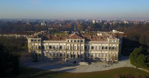 Villa Reale, Monza, Italy. Aerial view of the Royal Villa stock footage