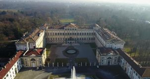 Villa Reale, Monza, Italy. Aerial view of the Royal Villa stock video