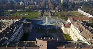 Villa Reale, Monza, Italy. Aerial view of the Royal Villa stock video footage