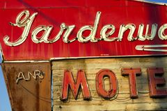 Villa Ridge, Missouri, United States - circa June 2016 - Gardenway Motel sign on Route 66 Stock Photography