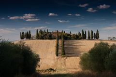 Villa with Rows of Cypress Trees Stock Image