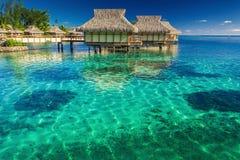 Villa's in de lagune met stappen in ondiep water met koraal royalty-vrije stock afbeelding