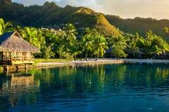 Villa's in een tropische die toevlucht en met palmen in worden weerspiegeld Royalty-vrije Stock Afbeelding