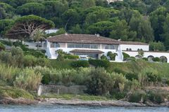 Villa Saint Tropez France. Villa in the mountains near the village Saint Tropez at the mediterranean sea in France stock photos