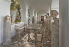 Villa San Michele in Anacapri. CAPRI, ITALY - APRIL 16, 2014: Loggia with statues in villa San Michele in Anacapri on island Capri Royalty Free Stock Photography