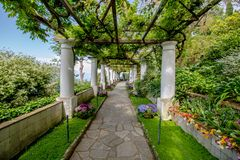 The Villa San Michele in spring, in Anacapri on the island of Capri, Italy. The Villa San Michele is a villa built by the Swedish fashion doctor and writer Axel royalty free stock image