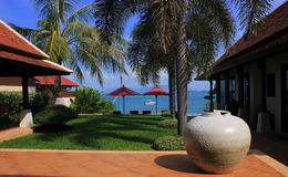 Villa with sea view. Recreation Area. terrace with sea view. villa by the sea. holiday in Thailand, Koh Samui, rest of Asia, the garden with sea views Royalty Free Stock Photos