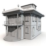 Villa Sketch. Highly detailed sketch rendering of an architectural exterior scenery - which is a Villa type building. Stylish but also accurate illustration Royalty Free Stock Photography