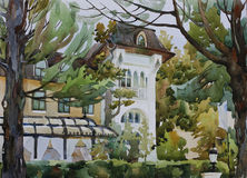 Villa Sofia among the trees watercolor Stock Images
