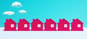 Villa of stadsconcepten met groep rood huis op pastelkleurachtergrond panoramisch, horizontaal voor banner royalty-vrije stock fotografie