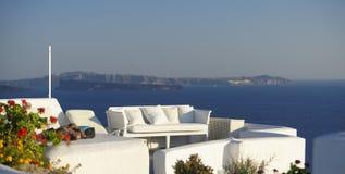 Villa sur l'île de Santorini images libres de droits