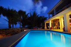 Villa swimming pool stock image
