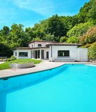 Villa with swimming pool Stock Images