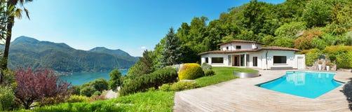 Villa with swimming pool. Architecture, beautiful villa with swimming pool, panorama Stock Image