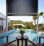 The villa with a swimming pool. Sanya China villa with swimming pool Royalty Free Stock Image