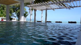 Villa Swimming Pool with Sea View Slow Motion stock video