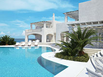 Villa with swimming pool. summer concept. 3d rendering Stock Images