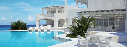 Villa with swimming pool. summer concept. 3d rendering Royalty Free Stock Photography