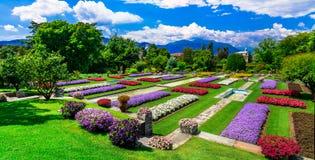 Villa Taranto con i bei giardini Lago Maggiore Fotografia Stock Libera da Diritti