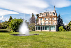 Villa Taranto with a fountain in front, Verbania, Italy. Stock Images