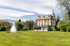 Villa Taranto with a fountain in front, Verbania, Italy. Royalty Free Stock Image