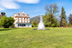 Villa Taranto with a fountain in front, Verbania, Italy. Royalty Free Stock Photos