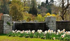 Villa Taranto waterfall and flowers Royalty Free Stock Photos