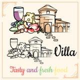 Villa_tasty y comida fresca ilustración del vector