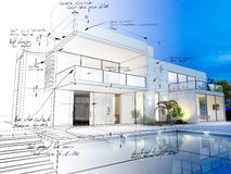 Villa technical draft. 3D rendering of a luxurious villa with contrasting realistic rendering and wireframe and notes Royalty Free Stock Photos