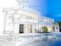 Villa technisch ontwerp Royalty-vrije Stock Foto's