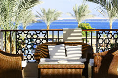 Villa Terrace. With wicker furniture and sea view Royalty Free Stock Image