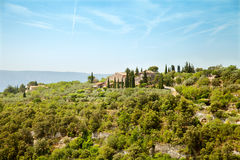 The villa on top of hill in south France Royalty Free Stock Photo