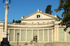 Villa Torlonia in Rome. Villa Torlonia is a villa and surrounding gardens in Rome, Italy. It was designed by the neoclassical architect Giuseppe Valadier. There Royalty Free Stock Photography