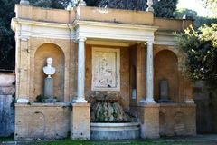 Villa Torlonia in Rome. Villa Torlonia is a villa and surrounding gardens in Rome, Italy. It was designed by the neoclassical architect Giuseppe Valadier. There Royalty Free Stock Photo
