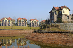 Villa in Town. A row of Villa is by the lake stock image