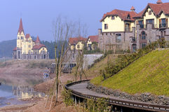 Villa in Town. A row of Villa is by the lake royalty free stock photos