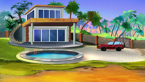 Villa in a tropical garden. Digital painting of the small Villa in a tropical garden Royalty Free Stock Photo