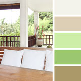 Villa on a tropical island, color palette swatches. Royalty Free Stock Image